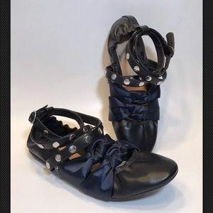 Zara TRF Black Faux Leather Blue Ribbon Ballet